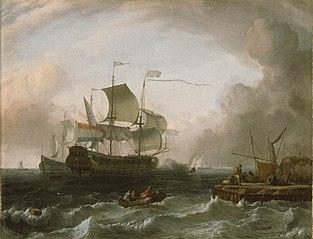 Dutch Men-of-War off a Jetty