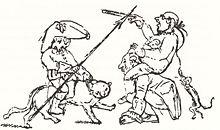 Hoffmann, auf dem Kater Murr reitend, kämpft gegen die preußische Bürokratie (Quelle: Wikimedia)