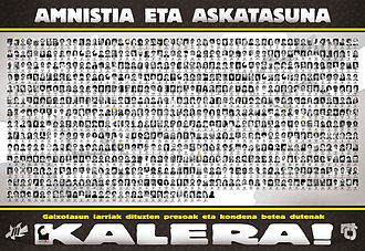 "ETA (separatist group) - Banner in support of imprisoned ETA members, by Gestoras pro Amnistía/Amnistiaren Aldeko Batzordeak (""Pro-Amnesty Managing Assemblies"", currently illegal)"