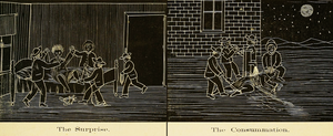 "Hazing - The ""Scenes of Hazing,"" as portrayed in an early student yearbook of the Massachusetts Agricultural College. Circa 1879."