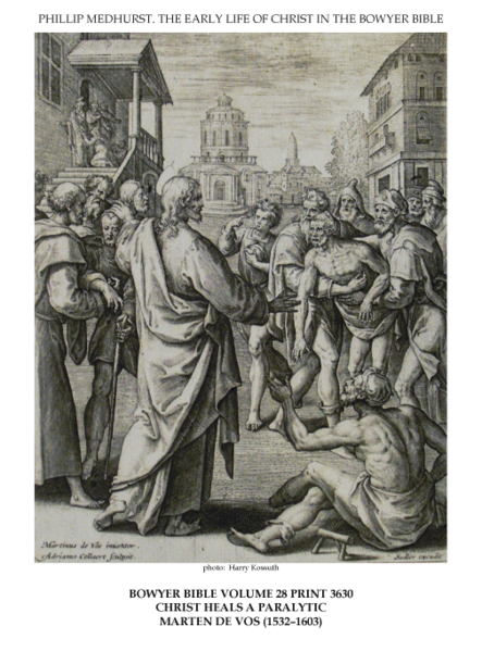 File:Early life of Christ in the Bowyer Bible print 21 of 21. healing of a paralytic by Jesus. Vos.png