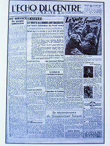 """""""l'Écho du centre"""" en 1944"""