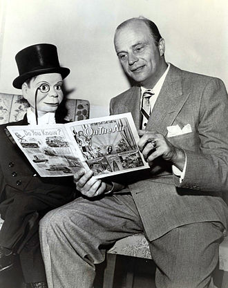 Edgar Bergen - Bergen and Charlie with an NBC-produced comic book On the Air, 1947.