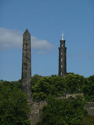 Old Calton Burial Ground - Martyr's Monument, with Nelson's Monument behind