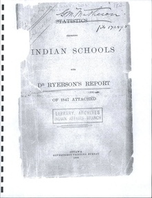 Photocopied, front cover view of Statistics Respecting Indian Schools, 1898