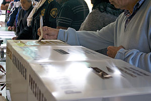 Mexican general election, 2012 - Citizen voting in the ballot box for president in Mexico City