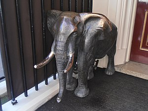 Aspinall's - Bronze elephant outside Crown Aspinalls