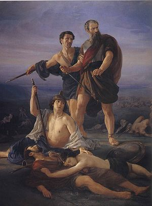 "Saul - ""Death of King Saul"", 1848 by Elie Marcuse (Germany and France, 1817–1902)"