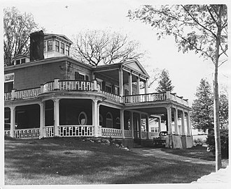 Elkanah Watson House - House facing east, with porch wrapping to the south, 1963