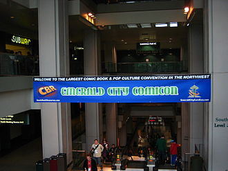 Emerald City Comicon - Banner across the convention center's escalators leading to the event at the 2008 event
