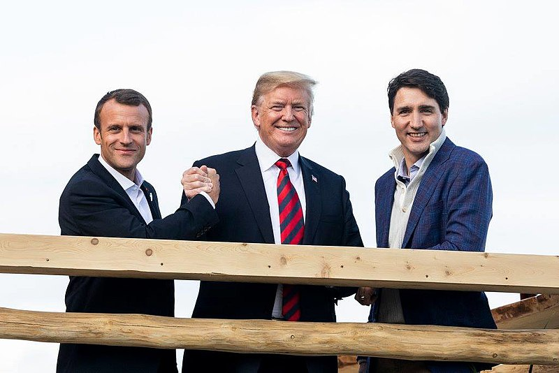 File:Emmanuel Macron with Donald Trump and Justin Trudeau in La Malbaie, Quebec - 2018.jpg