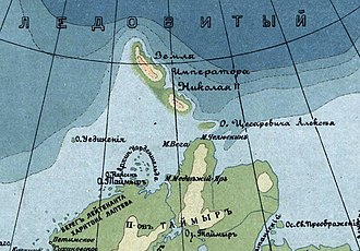 Severnaya Zemlya - Partly surveyed Emperor Nicholas II Land in a 1915 map of the Russian Empire. Back then it was believed that the archipelago was a single landmass.