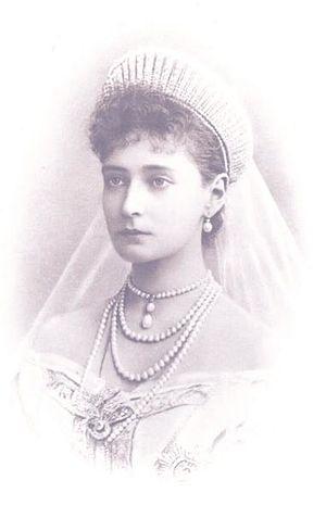 Empress Alexandra Feodorovna in her wedding dress (vignette).jpg