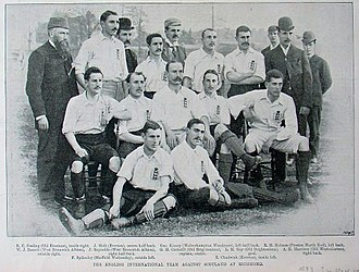 England national football team - The England team before playing a match against Scotland at Richmond in 1893.