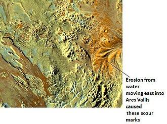 Oxia Palus quadrangle - Image: Erosion in Aram Chaos