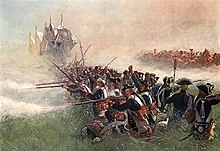 Painting of Prussian infantry firing in formation at the Battle of Kolín