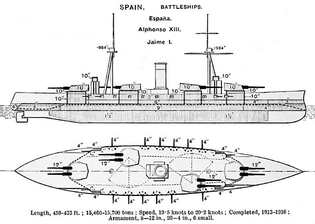 file espa u00f1a class battleship diagrams brasseys 1923 jpg