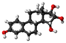 Ball-and-stick model of the estetrol molecule