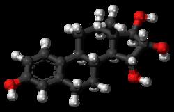Pilk-kaj-bastona modelo de la estetrolmolekulo