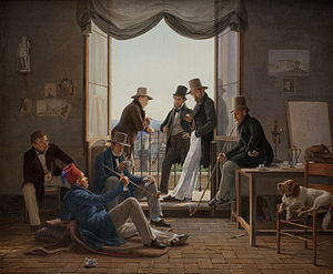 Danish Golden Age - A company of Danish artists in Rome, painted by Constantin Hansen, 1837. Lying on the floor is architect Bindesbøll. From left to right: Constantin Hansen, Martinus Rørbye, Wilhelm Marstrand, Albert Küchler, Ditlev Blunck and Jørgen Sonne.
