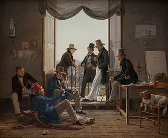 Michael Gottlieb Bindesbøll - A company of Danish artists in Rome, painted by Constantin Hansen. Bindesbøll is lying on the floor with a fez he often wore after his visit to Constantinople together with Martinus Rørbye who is seen behind him as number two from the left. Also appearing in the picture are the painter himself, Marstrand, Küchler, Blunck and Jørgen Sonne