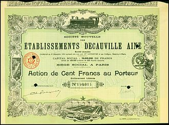 Decauville - Share of the Etablissements Decauville, issued 1894