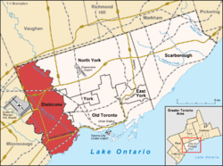 Location of Etobicoke (red) compared to the rest of Toronto.