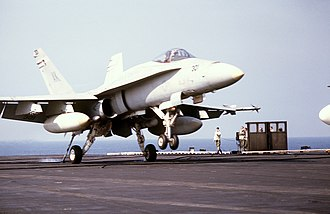 Action in the Gulf of Sidra (1986) - A VMFA-314 F/A-18A lands on USS Coral Sea