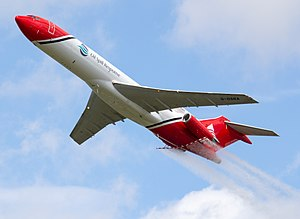 Oil dispersants - Oil Spill Response Boeing 727 displaying its dispersants delivery system at the 2016 Farnborough Airshow