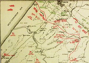Battle of Beersheba (1917) - Western sector of the front line, with April EEF positions in red