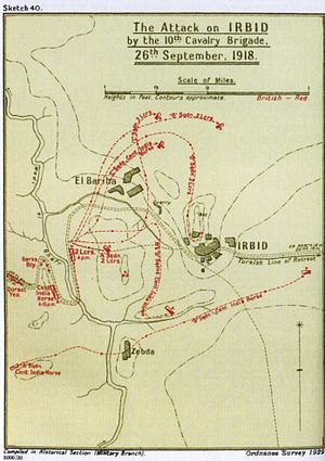 Charge at Irbid - Falls Sketch Map 40 10th Cavalry Brigade attack on Irbid