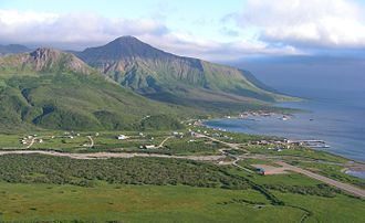 False Pass, Alaska - The city of False Pass as seen from the south.