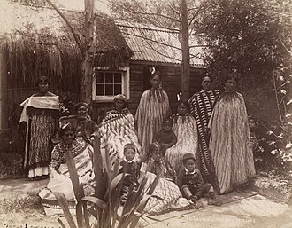 History of New Zealand - Māori whānau from Rotorua in the 1880s. Many aspects of Western life and culture, including European clothing and architecture, became incorporated into Māori society during the 19th century.