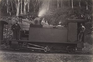 Rimutaka Incline - Fell engine at rest circa 1880