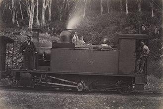 Rimutaka Incline - Fell engine at rest circa 1880