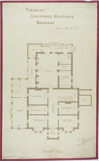 Government House, Brisbane - Basement plan, circa 1884