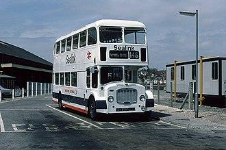 Western National - Eastern Coach Works bodied Bristol Lodekka with Sealink branding in Weymouth in 1978