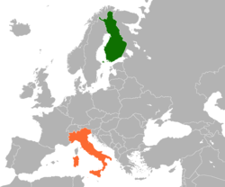 Map indicating locations of Finland and Italy