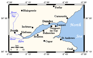 Firth of Tay - A map of the Firth of Tay and environs