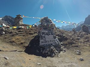 Scott Fischer - This memorial to Scott Fisher resides on an open plateau outside the village of Dughla in the Khumbu Valley, a days walk from Everest Base Camp