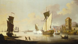 Fishing scene, with a royal yacht  near the shore