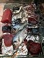 Fiskebryggen, Mathallen, Fishmarket, Bergen, Norway 2018-03-18. Dicentrarchus labrax (European bass, havabbor), Thunnus (tuna, tunfisk), Sparus aurata (Gilt-head bream, dorade), whale meat (hvalkjøtt), etc. Fjellskål sea food store.jpg