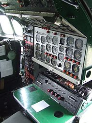 Flight engineer station on board Lockheed Constellation N749NL.JPG