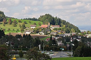 Forch - The village of Forch and ''Forchautobahn'' (highway), Maur and Glatt Valley to the right