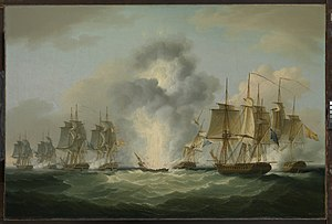 José de Bustamante y Guerra - José de Bustamante y Guerra's flotilla intercepted by four British frigates on 5 October 1804. Painting by Francis Sartorius Jr.