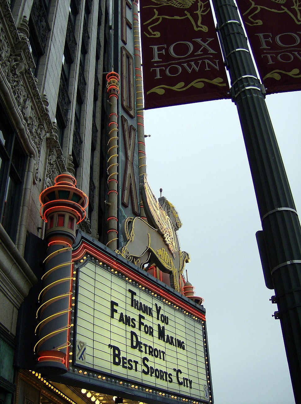 Foxtown banner and marquee, detroit