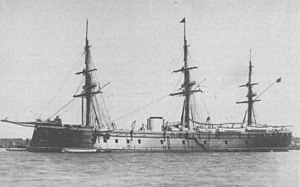 Battle of Callao - The ironclad Numancia, flagship of the Spanish fleet.
