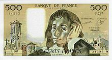 500 francs Pascal, Face recto