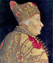 Profile bust portrait of elderly, clean-shaven man, dressed in golden clothes and wearing the ducal corno of Venice