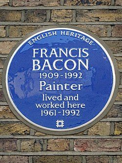 Francis bacon 1909 1992 painter lived and worked here 1961 1992